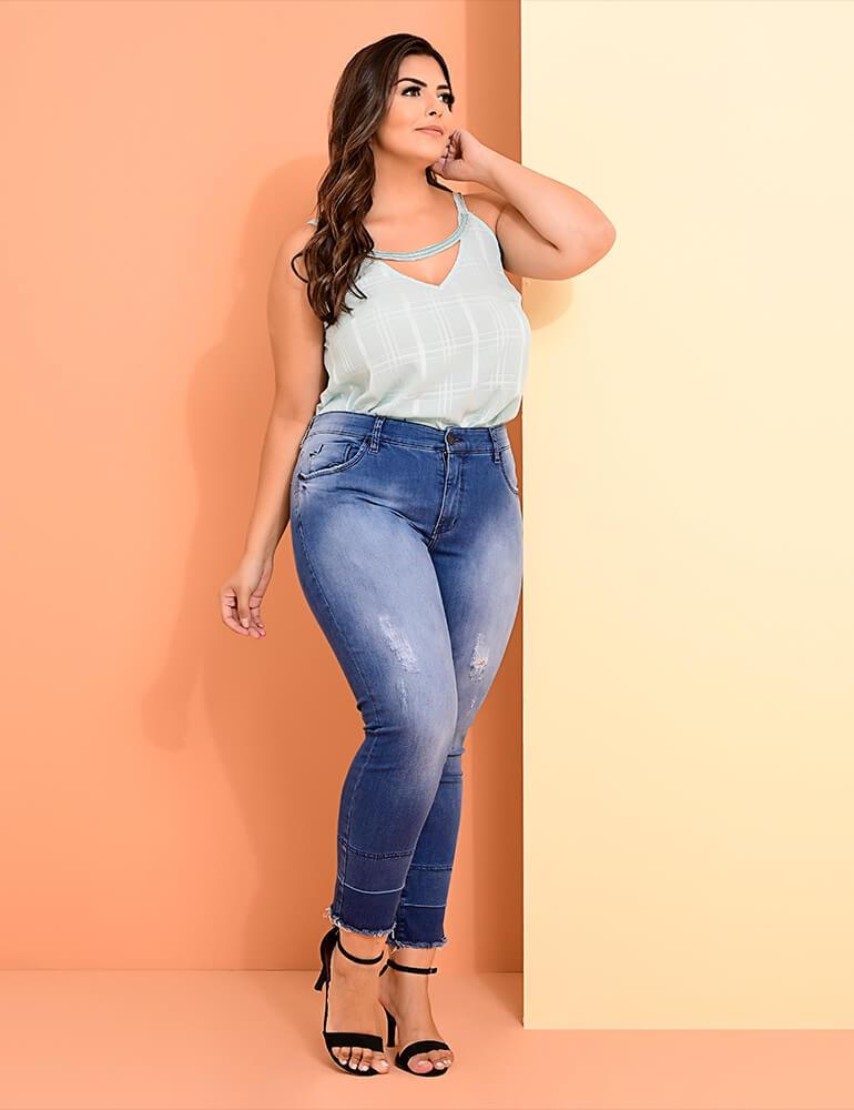 Calça Jeans Cropped Feminina Fact Jeans ref. 03889 - Plus Size