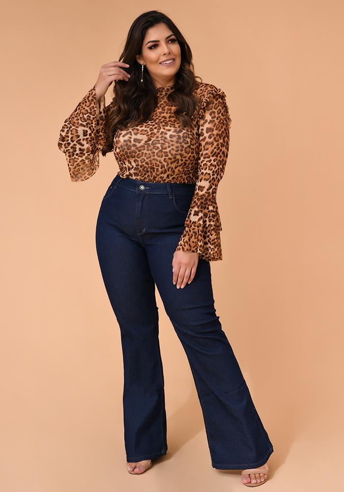Calça Jeans Flare Feminina Fact Jeans - Plus Size Ref. 04118
