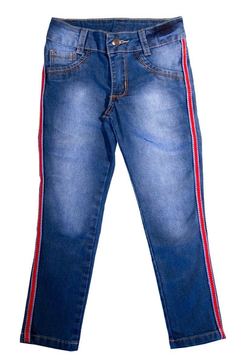 Calça Jeans Infantil Meninas Cropped com Listra Lateral Tamanhos 04, 06 e 08 [Ref 1607]
