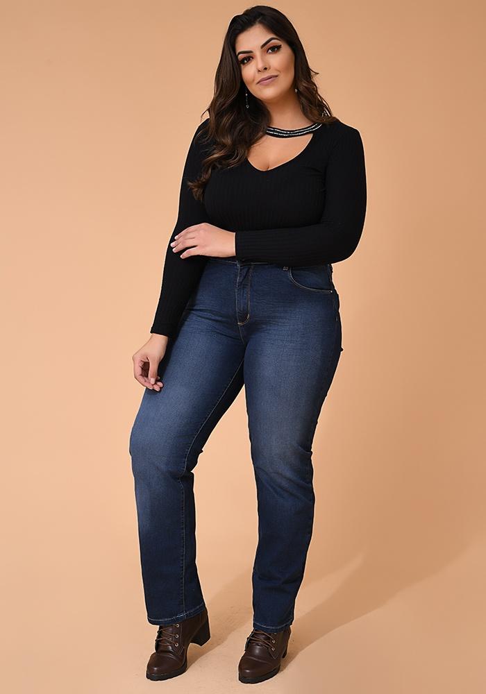 Calça Jeans Reta Feminina Fact Jeans - Plus Size Ref. 04113