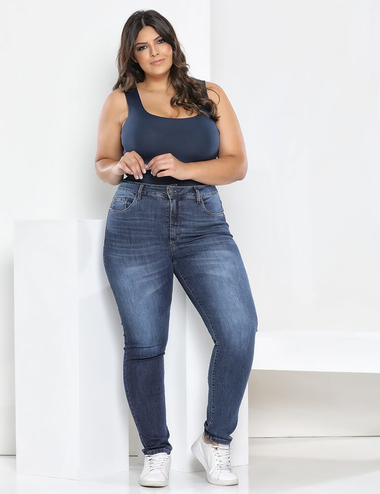 Calça Jeans Skinny Feminina Fact Jeans ref. 03626 - Plus Size