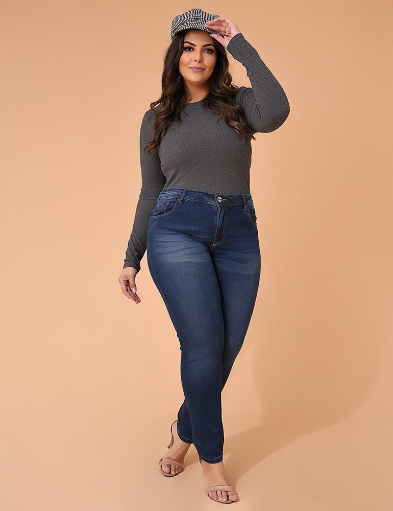 Calça Jeans Skinny Feminina Fact Jeans - Plus Size Ref. 04163