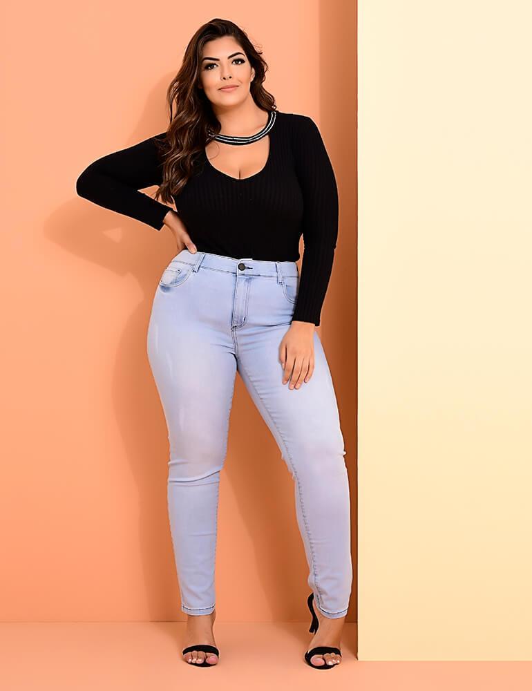 Calça Jeans Skinny Feminina Fact Jeans Plus Size ref. 03955