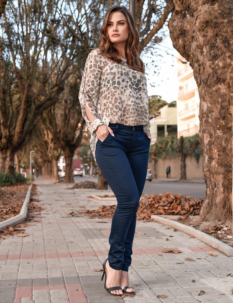 Calça Sarja Cigarrete Feminina Fact Jeans ref. 03700 - Azul