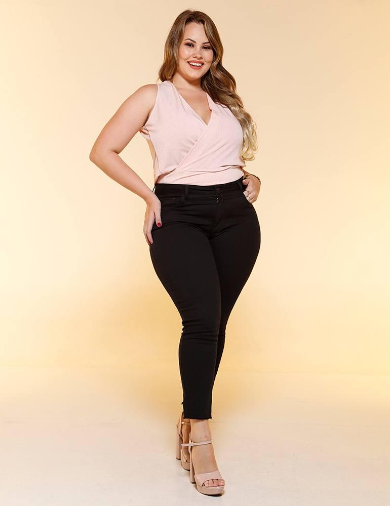 Calça Sarja Cropped Feminina Fact Jeans ref. 04484 - Plus Size