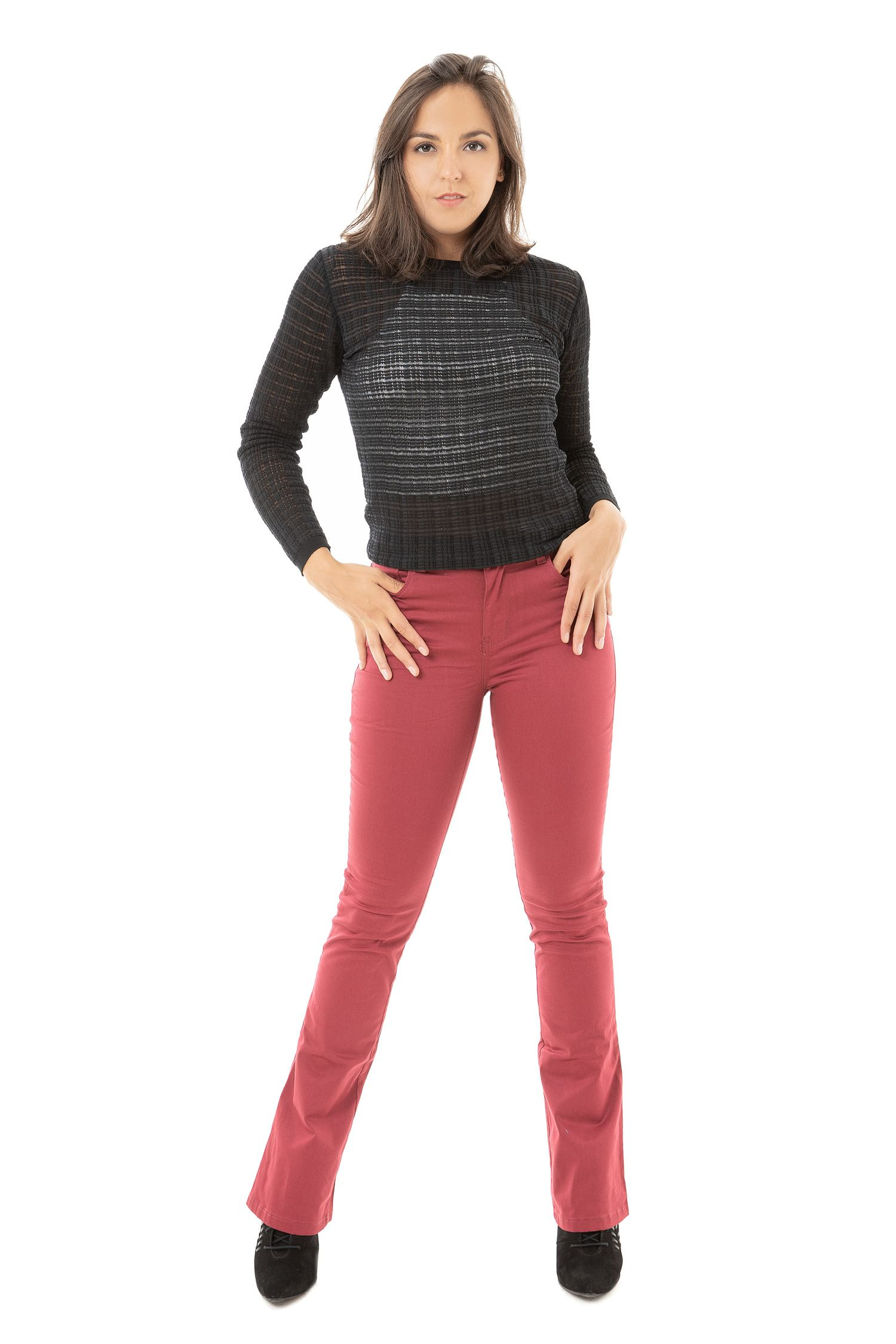 Calça Sarja Flare Feminina Fact Jeans ref. 03694 - Vinho