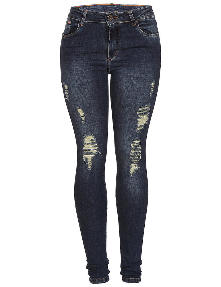 Calça Jeans Skinny Destroyed Feminina Fact Jeans ref. 03591