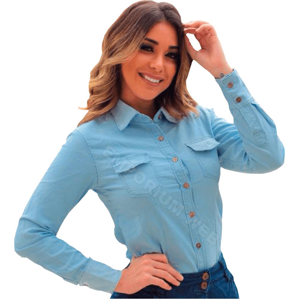 Camisa Jeans Feminina Manga Longa Azul Claro