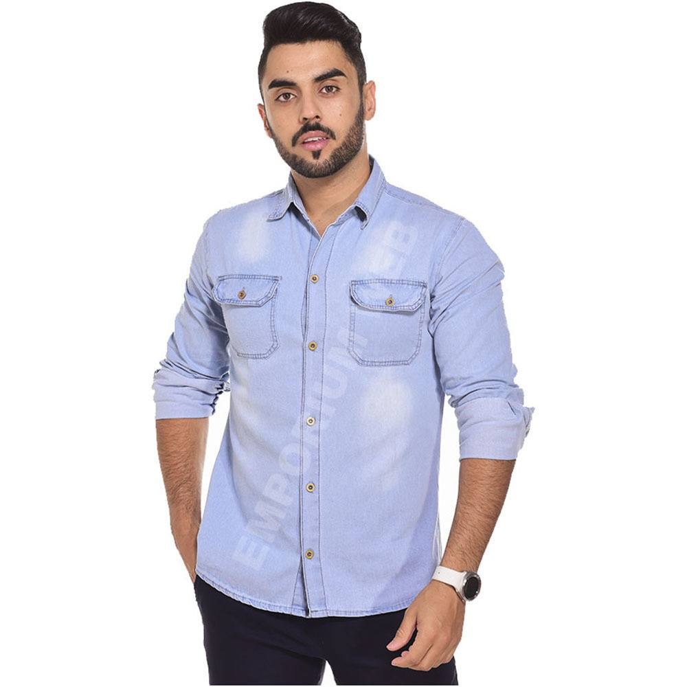 Camisa Jeans Masculina Manga Longa Azul Claro