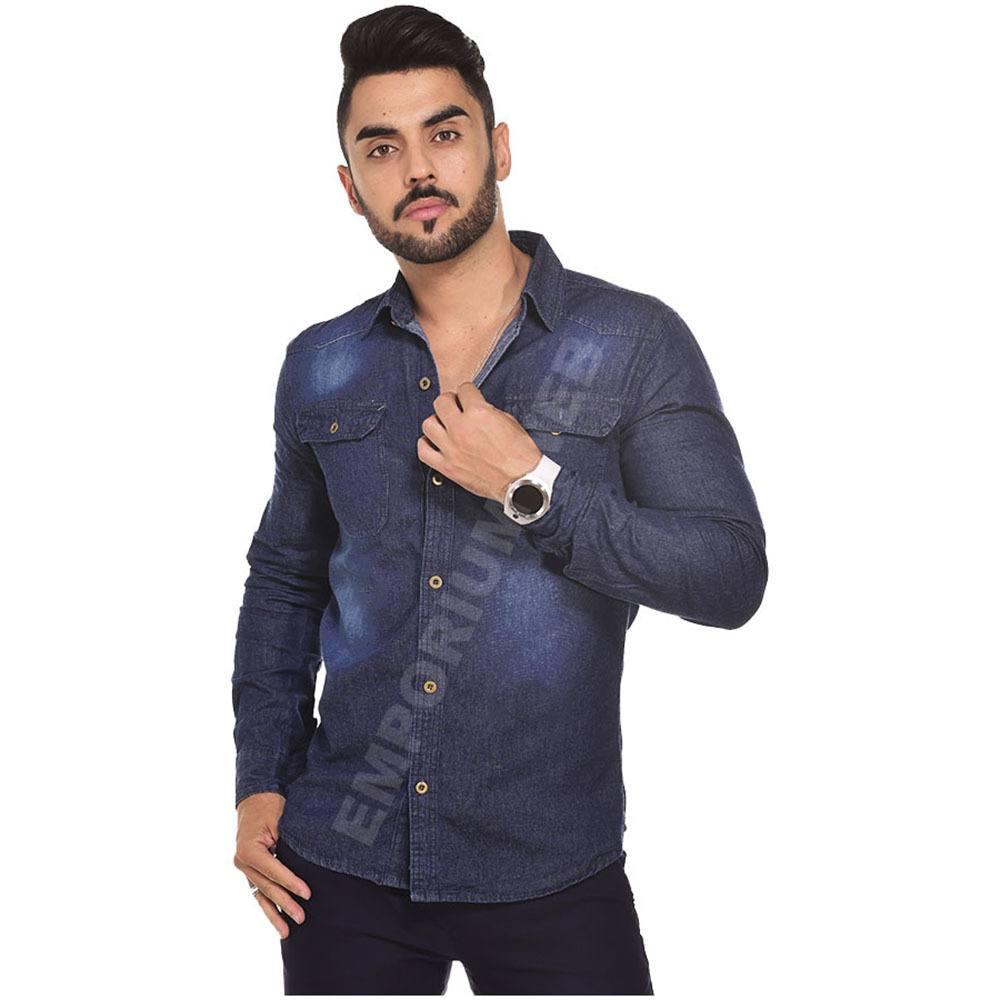 Camisa Jeans Masculina Manga Longa Azul Escuro