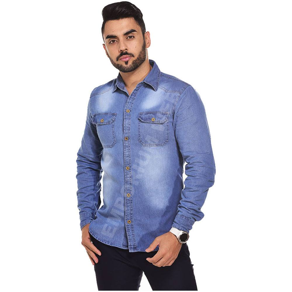 Camisa Jeans Masculina Manga Longa Azul Médio