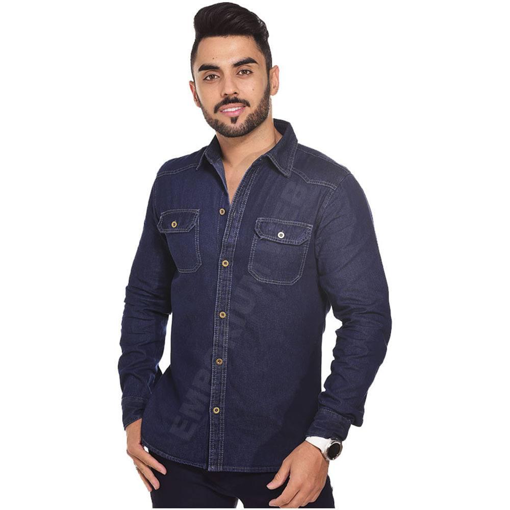 Camisa Jeans Masculina Manga Longa Azul Petróleo