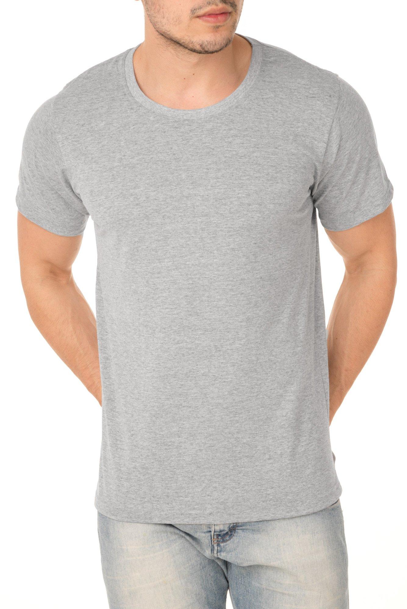 Camiseta de Algodão 30.1 Penteado Cinza Mescla