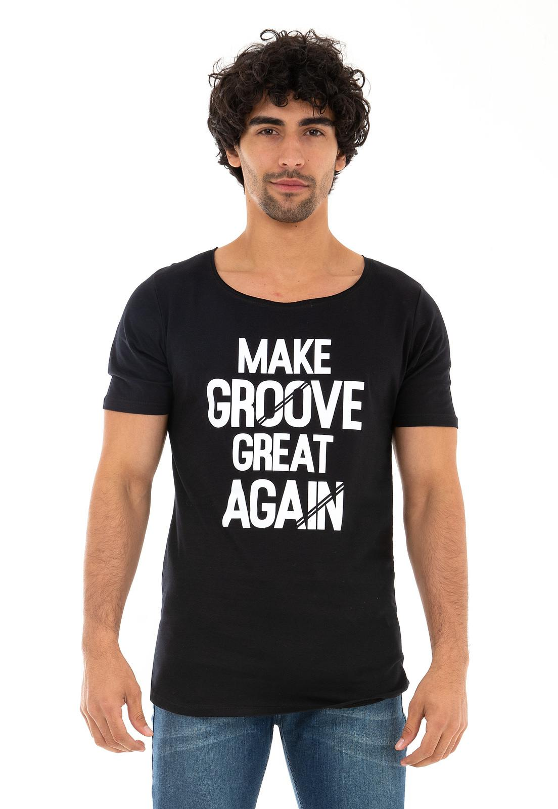 Camiseta Longline Gola Canoa Make Groove Great Again