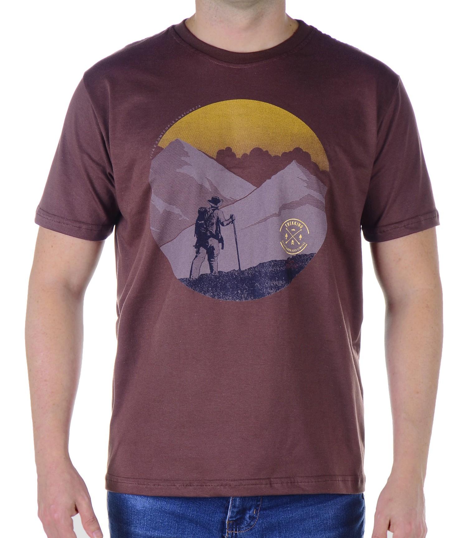 Camiseta Masculina Revost Trekking - Marrom