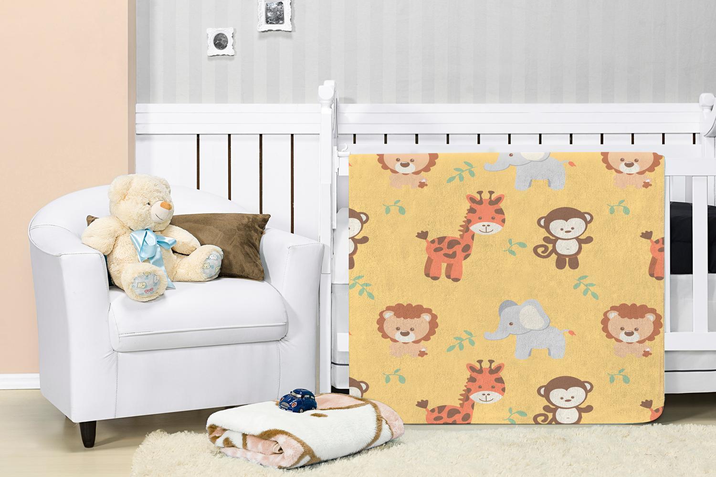 Cobertor Manta Bebê Baby Flannel Estampado Etruria Floresta 1,10x0,90m - Amarelo