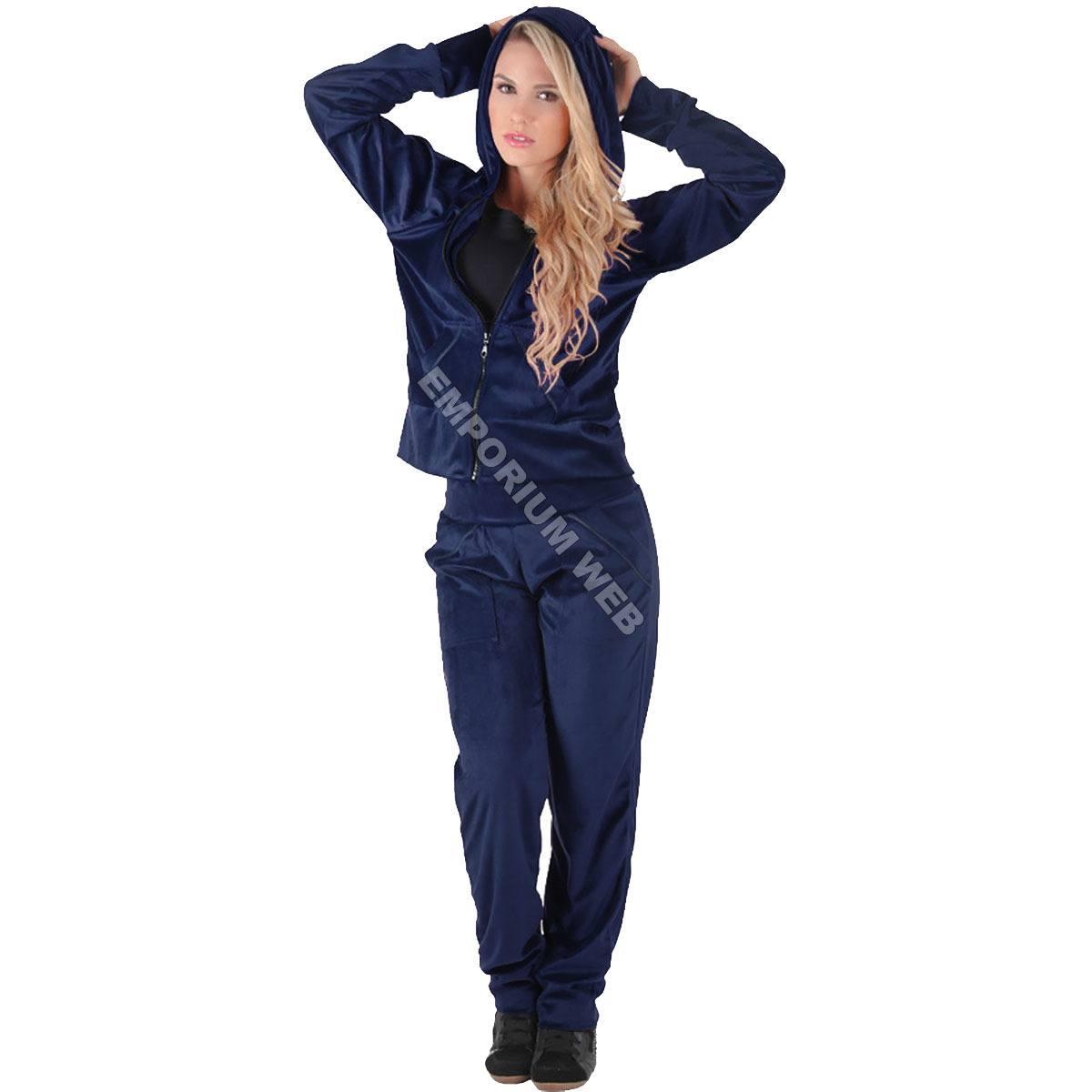 Conjunto Feminino Plush / Veludo (Calça + Blusa com capuz) - Azul