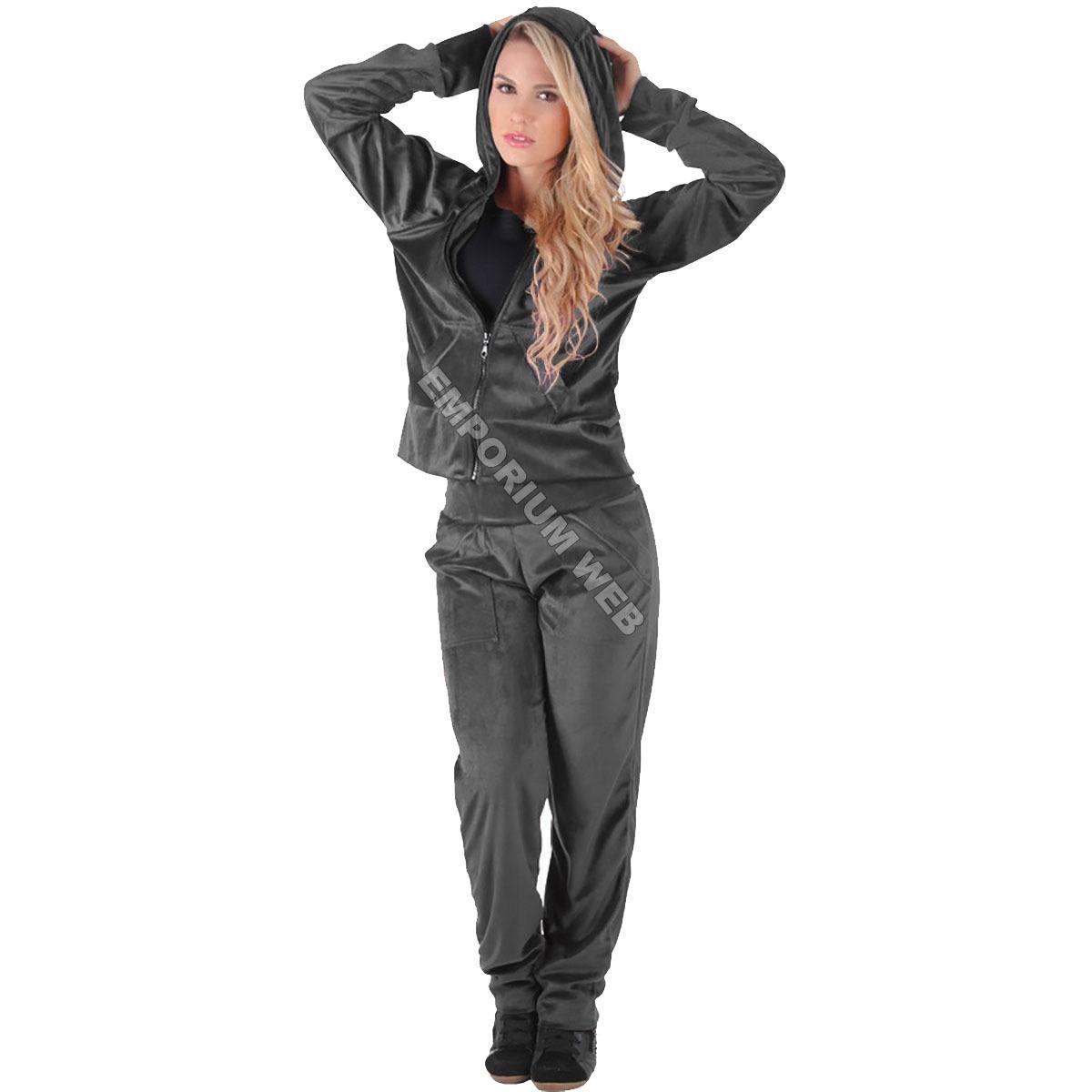Conjunto Feminino Plush / Veludo (Calça + Blusa com capuz) - Cinza