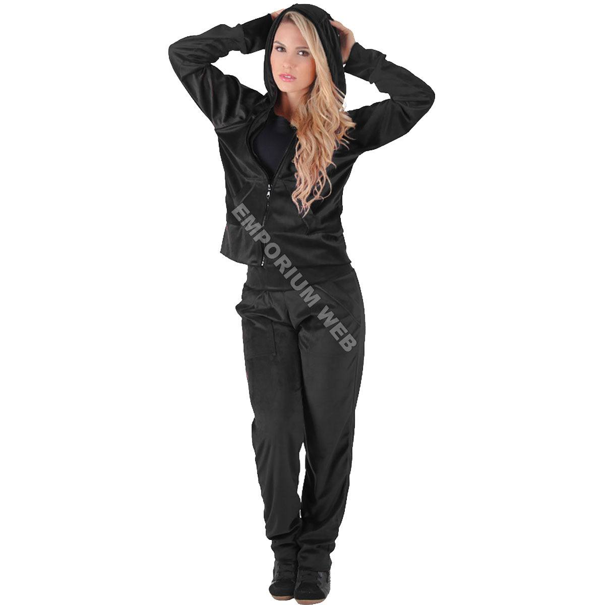 Conjunto Feminino Plush / Veludo (Calça + Blusa com capuz) - Preto