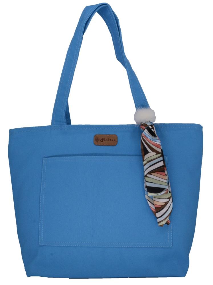 Bolsa Lulu Azul com Lenço-pompom - Fábio Maltez