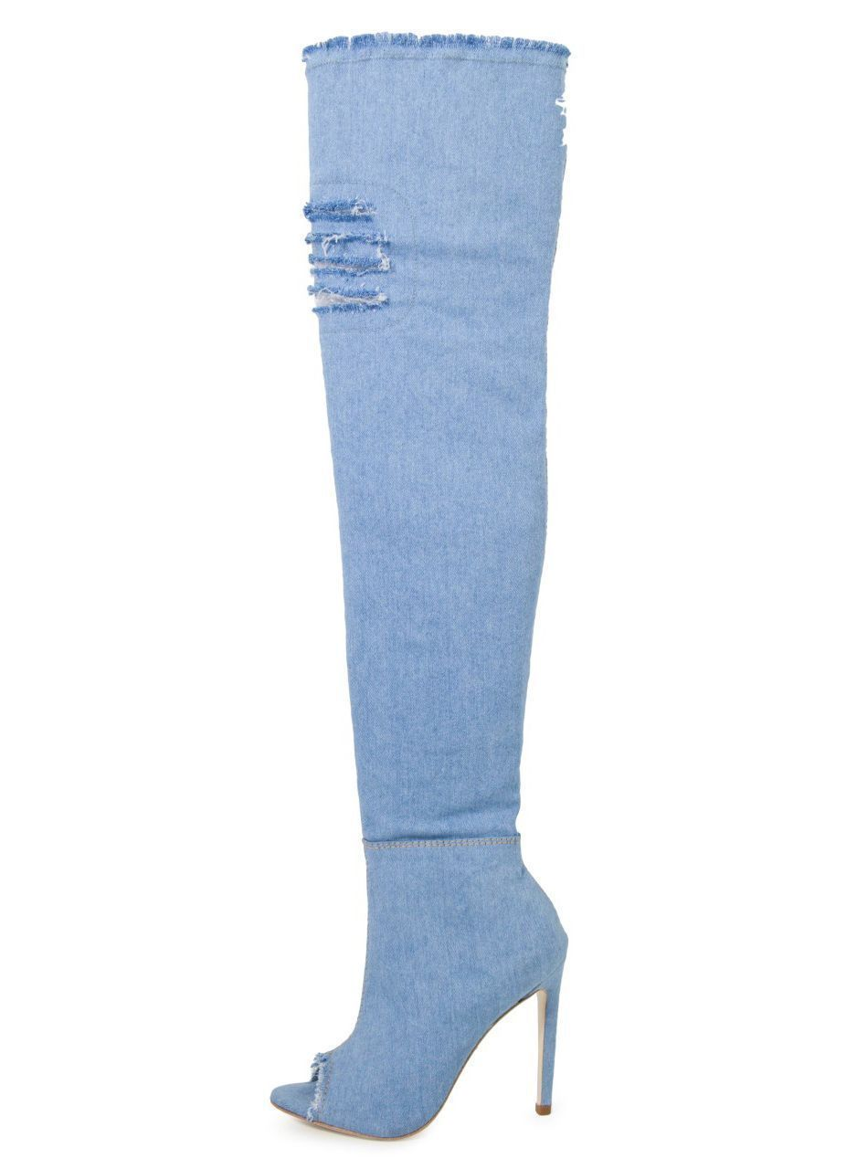 Bota Open Boot Bellagio Over The Knee Jeans Azul Claro