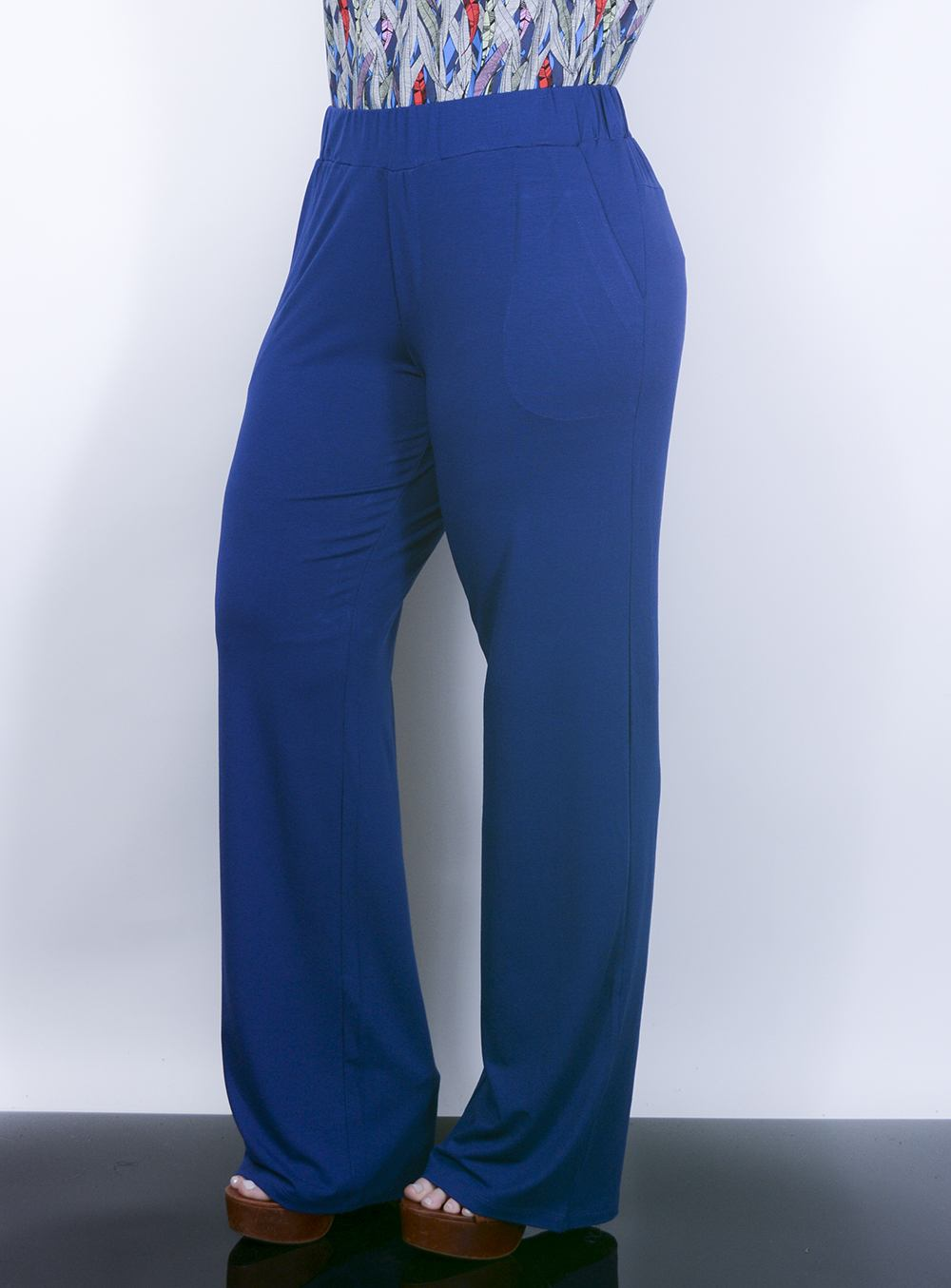 Calça Pantalona em Malha com Bolsos Azul Royal ref. AD5326