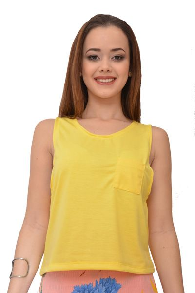 Regata Cropped Urban Lady Amarelo
