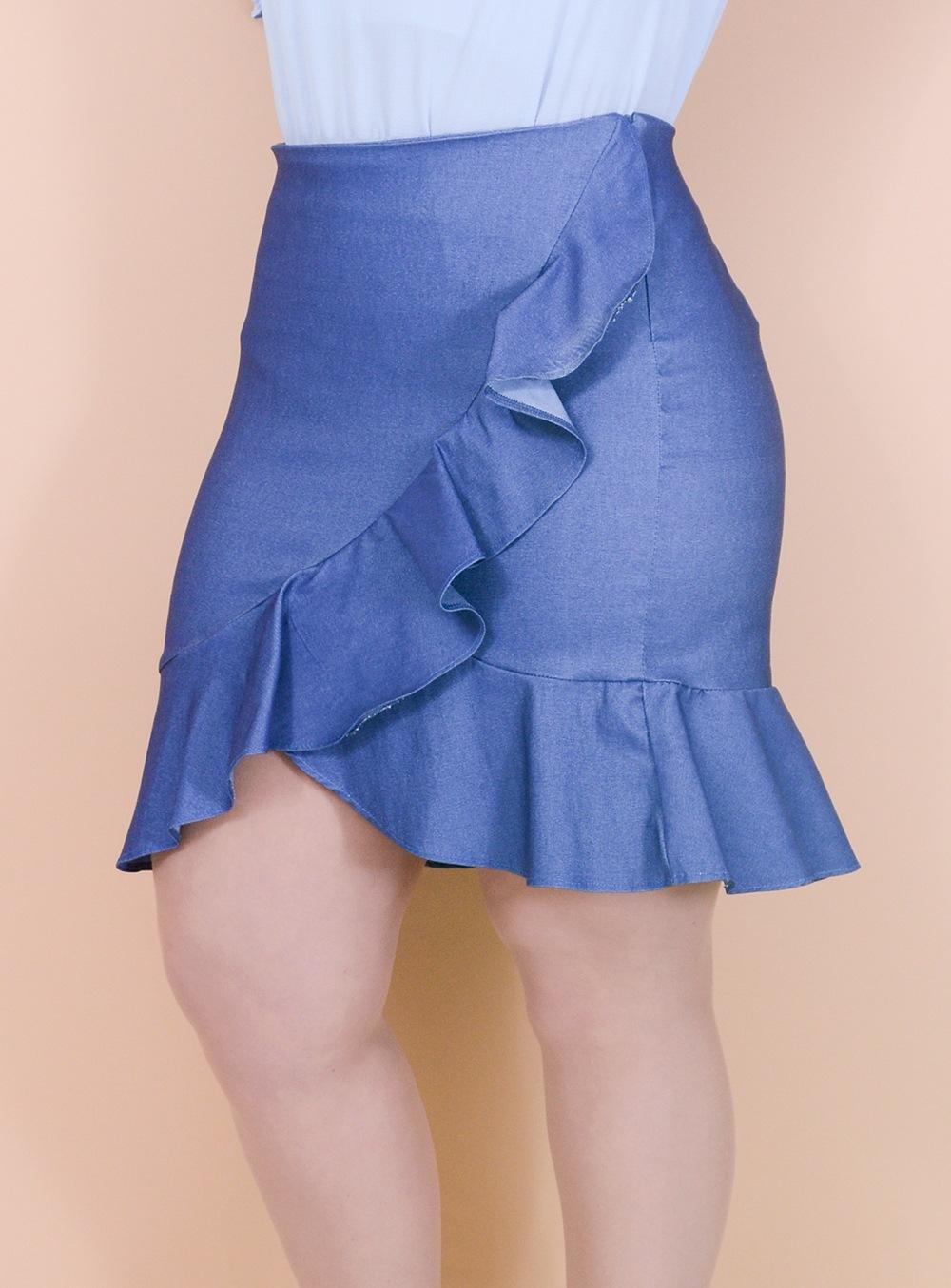 Saia em Malha Imitação Jeans com Babados ref. TPS01
