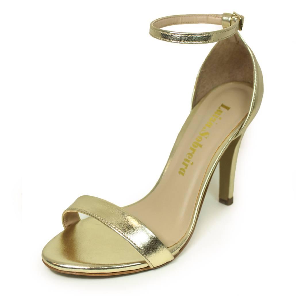 Sandália Salto Fino Luiza Sobreira Couro Dourado Mod. 1374