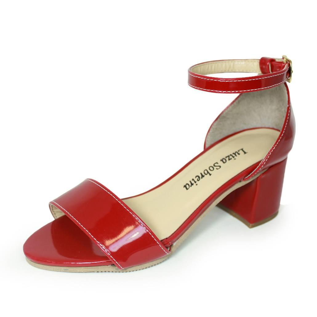Sandália Salto Grosso Luiza Sobreira Verniz Vermelho Mod. 4075