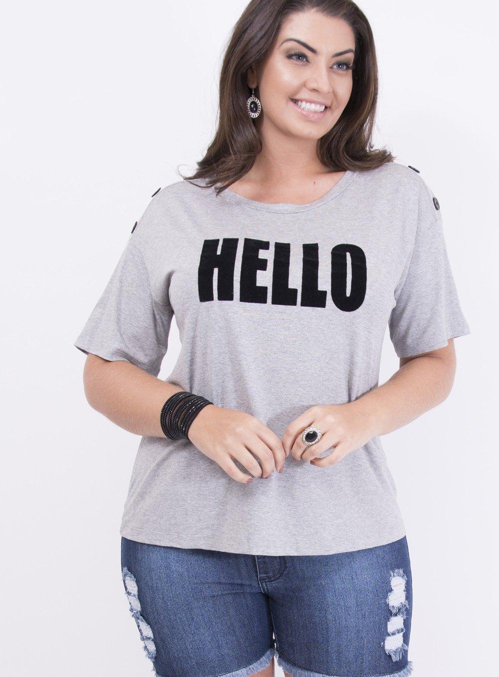 T-shirt em Malha com Detalhe em Botões Estampada com Frase: Hello