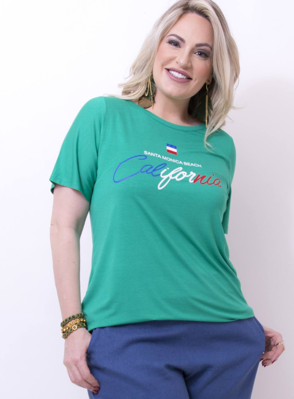 """T-shirt em Malha Estampada com Frase """"Santa Monica Beach California"""" ref. TS18213"""