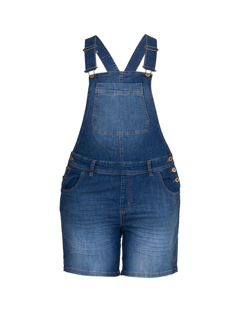 Jardineira Jeans Feminina Fact Jeans - Plus Size Ref. 04068