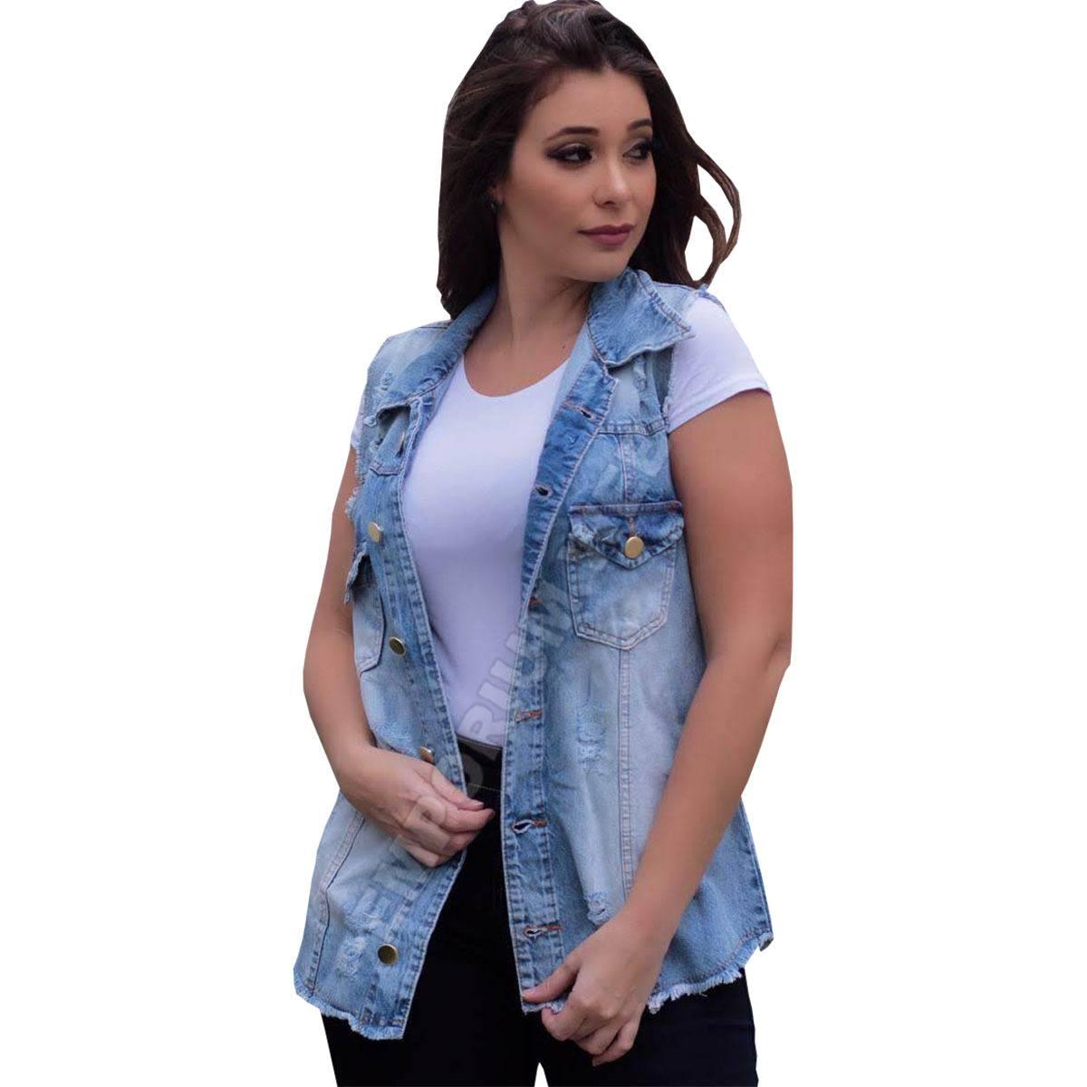 Max Colete Jeans Feminino Destroyed (Desfiado / Rasgado) - Azul Claro