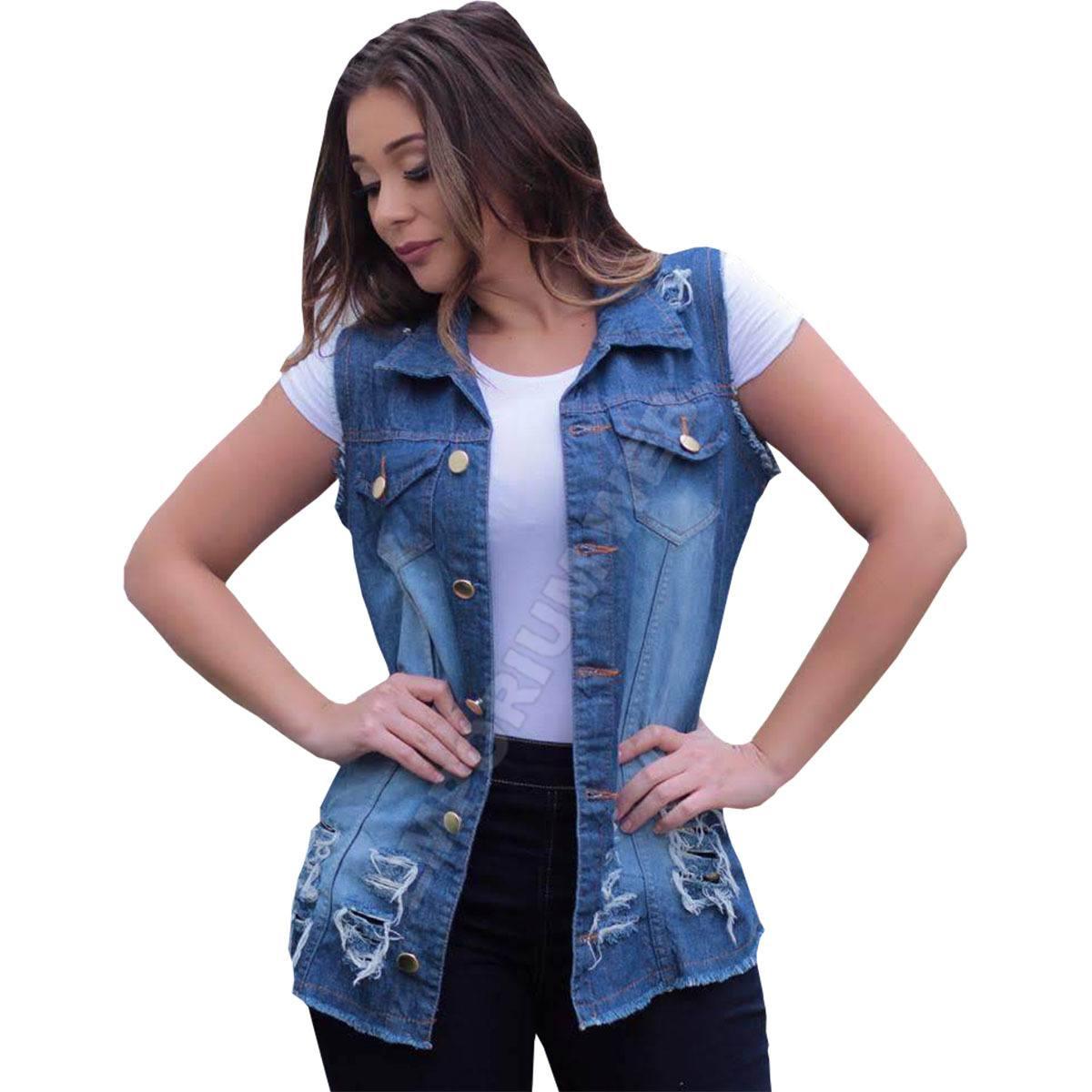 Max Colete Jeans Feminino Destroyed (Desfiado / Rasgado) - Azul escuro