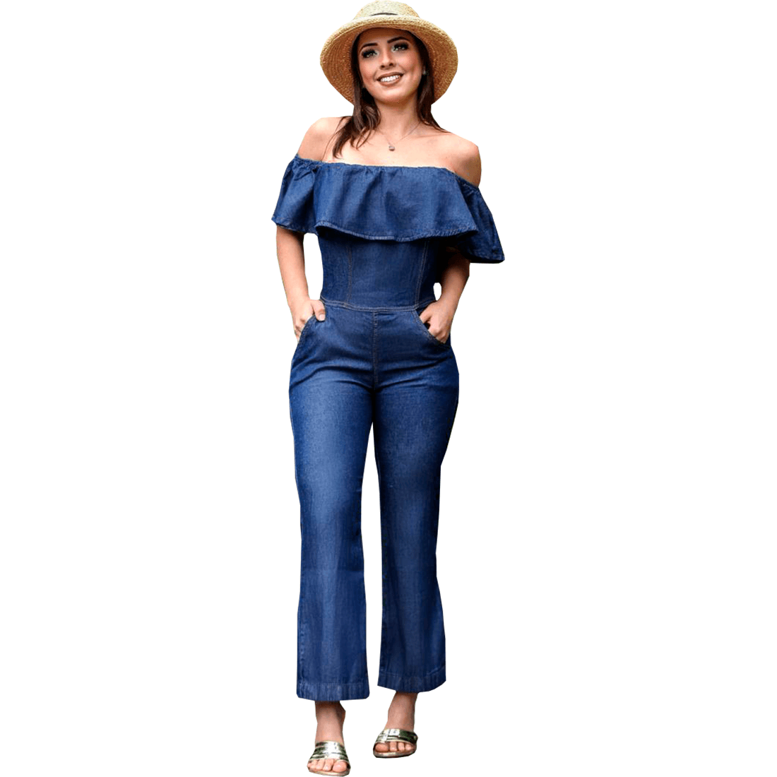 Macacão Jeans Feminino longo Pantacourt ombro Ciganinha azul escuro