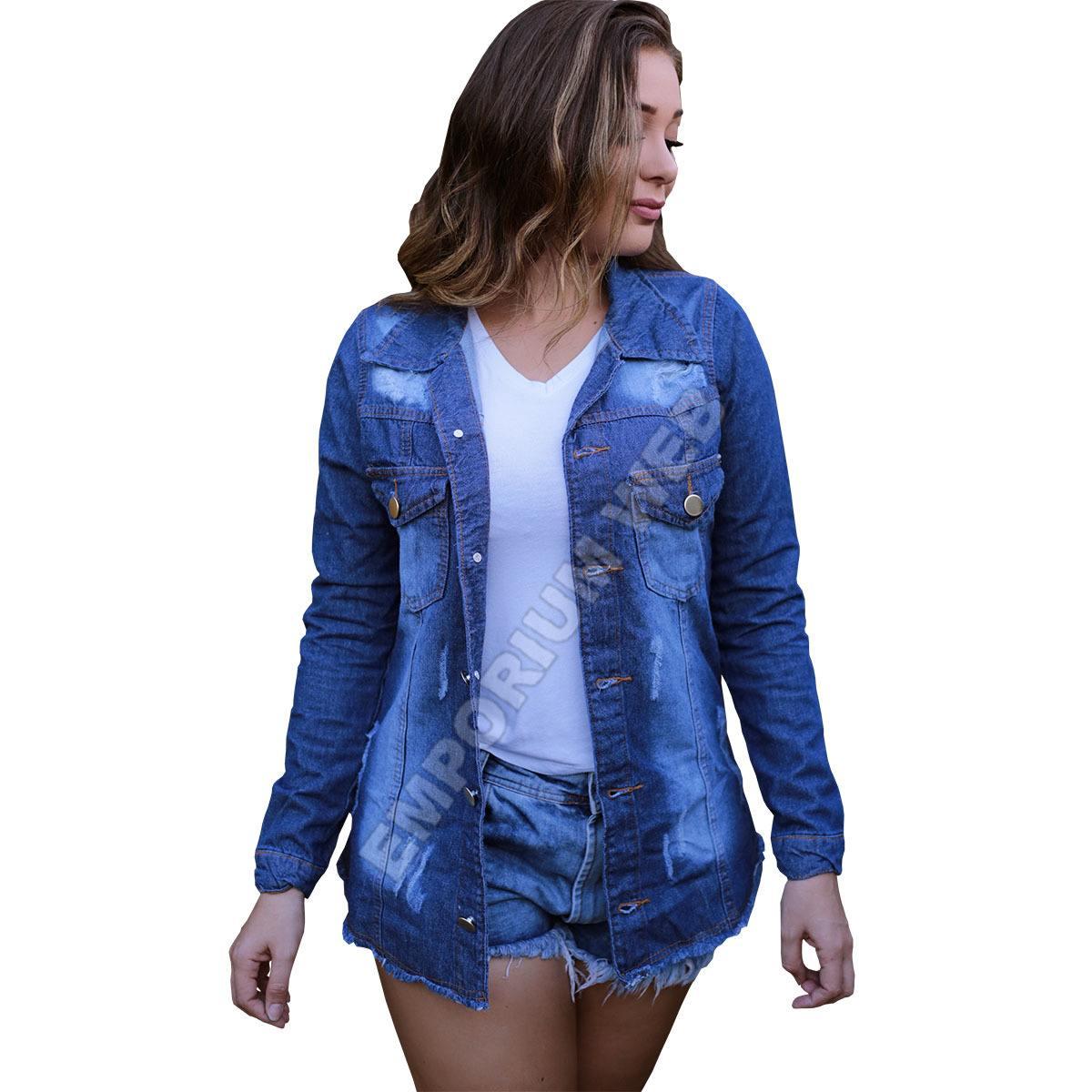 Max Jaqueta Jeans Feminino Destroyed / Desfiado / Rasgado - Azul Escuro
