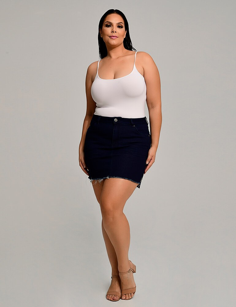 Mini Saia Jeans Fact Jeans Plus Size ref. 03748