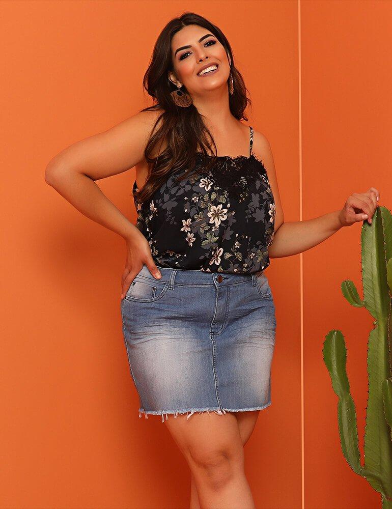 Mini Saia Jeans - Plus Size 3891