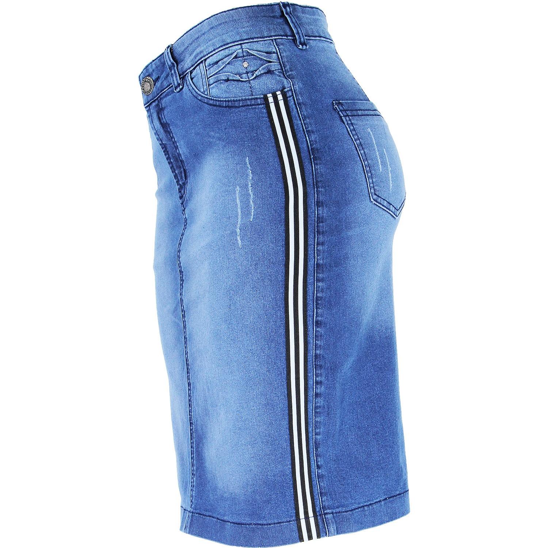 Saia Evangélica Eruption Jeans Faixa Lateral [7169STUS]