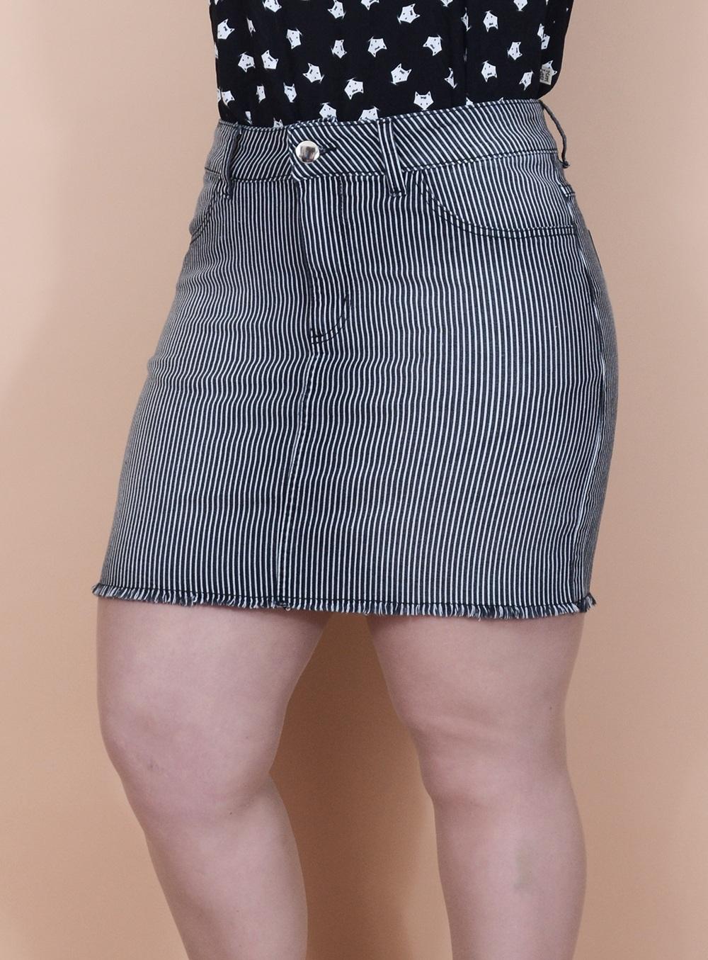 Saia Jeans Listrada com Elástico na Cintura ref. AT140