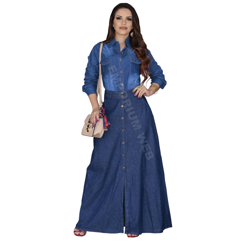 Saia Jeans longa com botões frontal - Azul Escuro