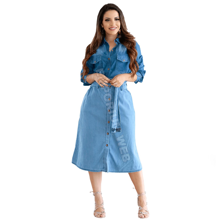 Saia Jeans Midi com botões frontal e cinto - Azul Claro
