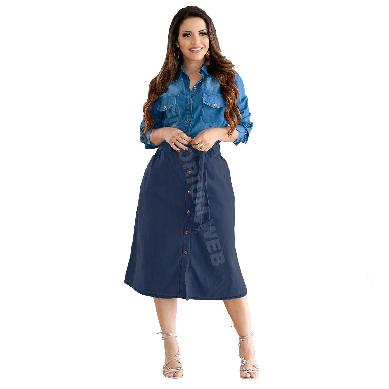 Saia Jeans Midi com botões frontal e cinto - Azul Escuro