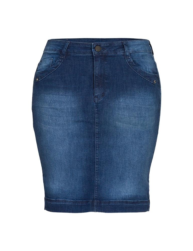 Saia Jeans Secretária Fact Jeans - Plus Size Ref. 04095