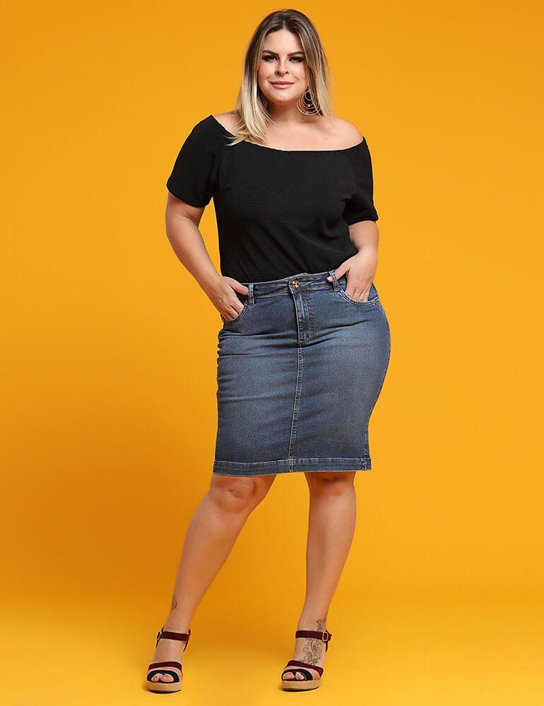 Saia Jeans Secretária Feminina Fact Jeans ref. 03720