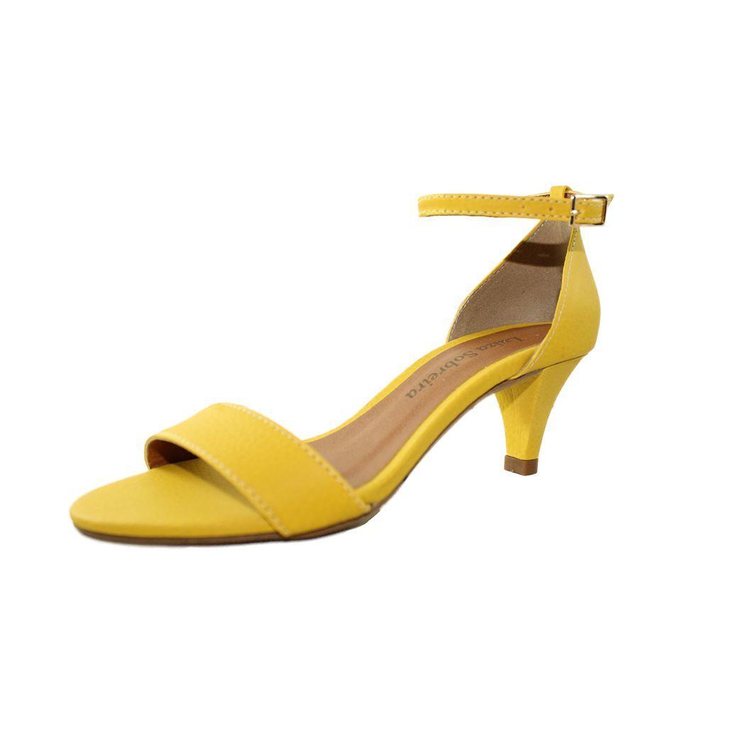 Sandália Salto Baixo Fino Luiza Sobreira Couro Amarelo Mod. 2021