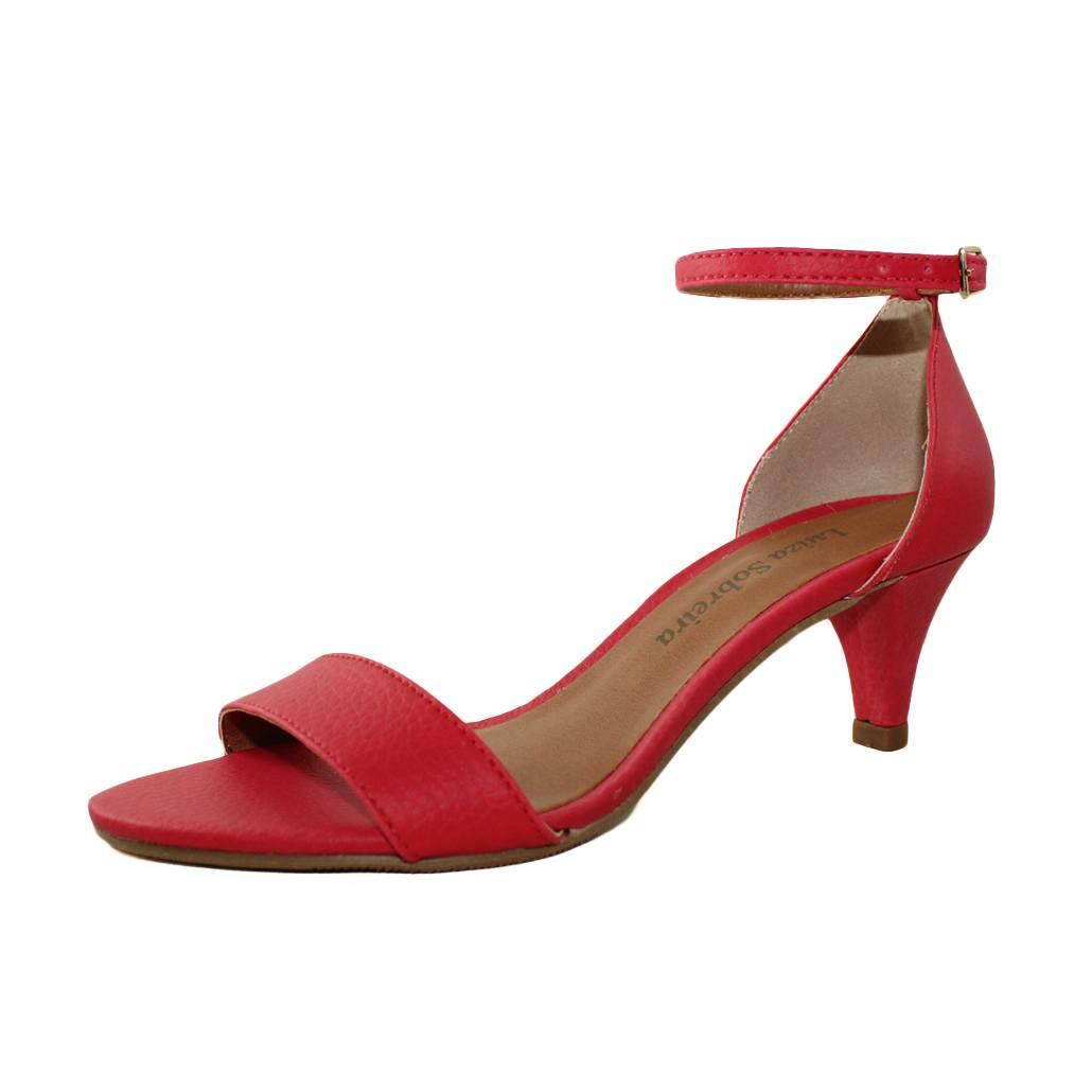 Sandália Salto Baixo Fino Napa Vermelho Mod. 2016