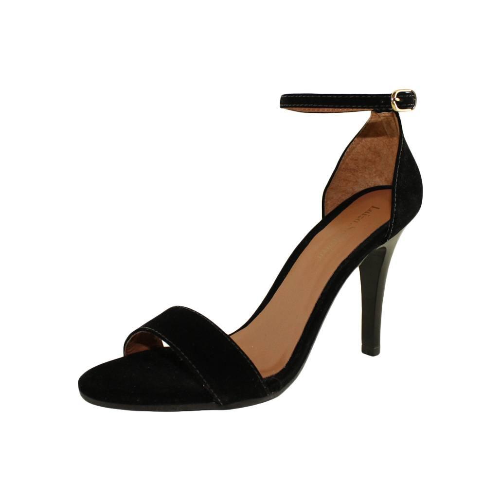 Sandália Salto Fino Luiza Sobreira Nobuck Preto Mod. 510