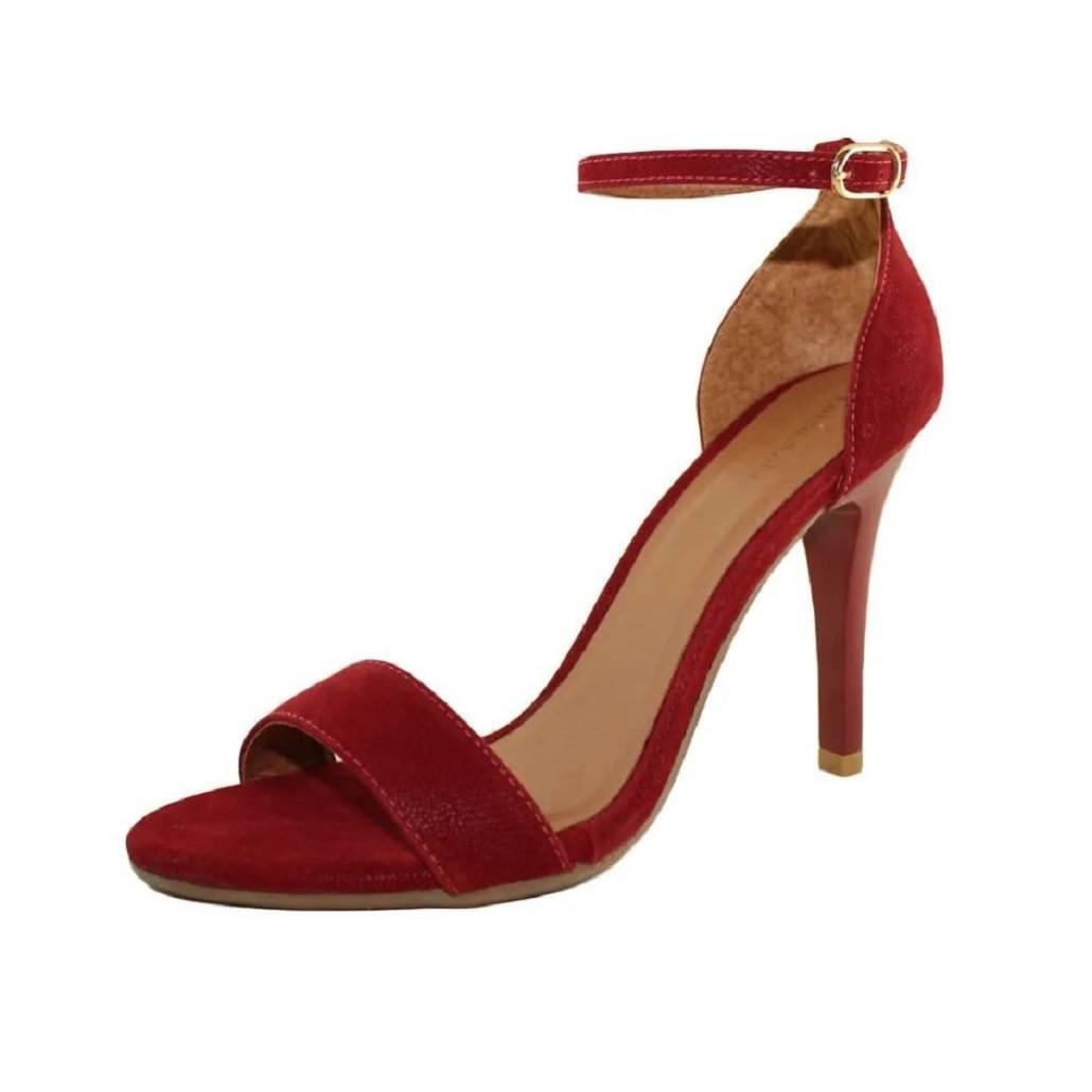 Sandália Salto Fino Luiza Sobreira Nobuck Vermelho Mod. 503